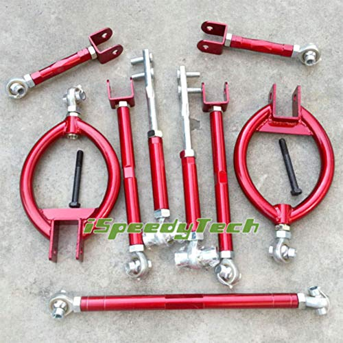 Ispeedytech For Nissan 240SX S13 300ZX Z32 Rear Camber Tension Traction Toe Suspension Kit (red) ()