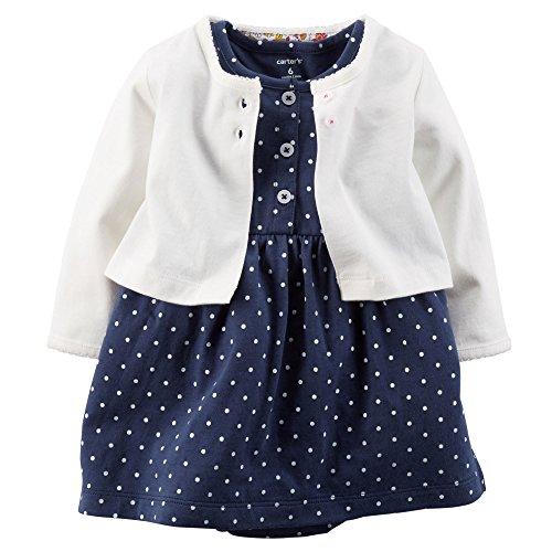 Carters Baby Girls' Polka Dot Cardigan Dress Set (12 Months, Navy) - Girls Polka Dot Clothing