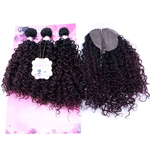 (Kinky Curly Hair Bundles With Closure Synthetic Hair Weave Extensions Color T1B/99J# Two Tone Ombre 16 18 20 Inches With 18