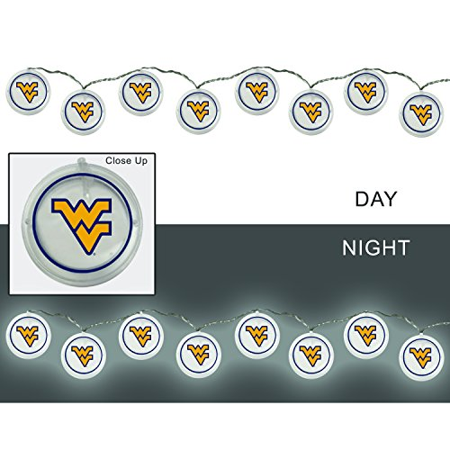 Team Sports America West Virginia University Outdoor Safe Battery Powered String Light Set (Virginia West Light)