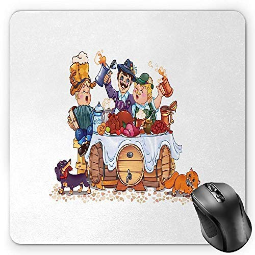 Oktoberfest Mouse Pad, Colorful Bavarian Autumn Season Celebration Illustration with Beer and Pork Gaming Mousepad Office Mouse Mat Multicolor -