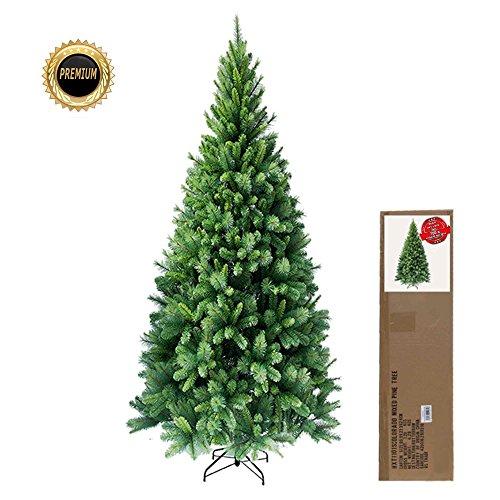 Slim, 180 cm hochwertiger, künstlicher Weihnachtsbaum, schwer entflammbar, mit Metallständer, Minutenschneller Aufbau mit Klappsystem, ca. 662 Spitzen