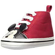 Disney Baby Boys Mickey Mouse Infant Shoes, Red Mickey Mouse High-Top Sneakers, Age 3-6 Months
