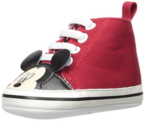 Disney Baby Boys Mickey Mouse Infant Shoes, Red Mickey Mouse High-Top Sneakers, Age 9-12 Months