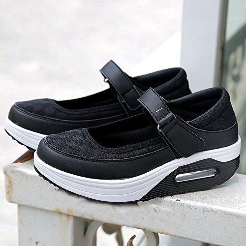 Enllerviid Dames Mary Jane Toning Wandelschoenen Velcro Vorm Up Platform Sleehakken Mode Sneakers Zwart Mesh Bovenwerk