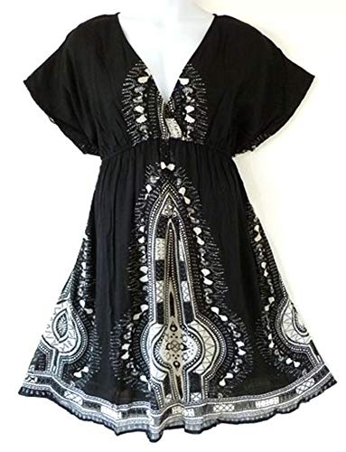Size Plus Cover Ups (119 - Plus Size Dashiki Printed Babydoll Cover-Up Vacation Dress (2X, Black))