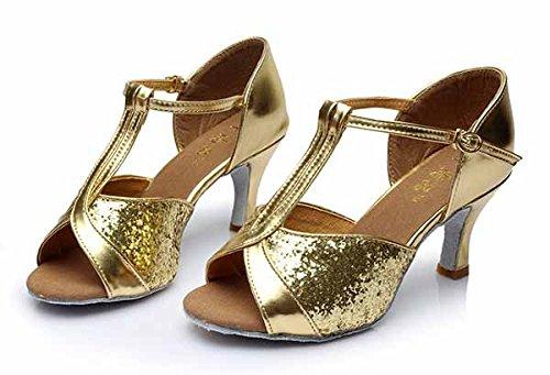 YFF Mädchen Ballroom tango Frauen salsa Latin Dance Schuhe 5 cm und 7 cm hohem Absatz,Gold 7 CM,6.