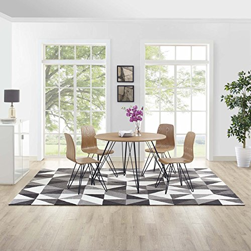 Modway R-1014A-810 Kahula Geometric Triangle Mosaic 8x10 Area Rug, Twin, Black/Gray and White