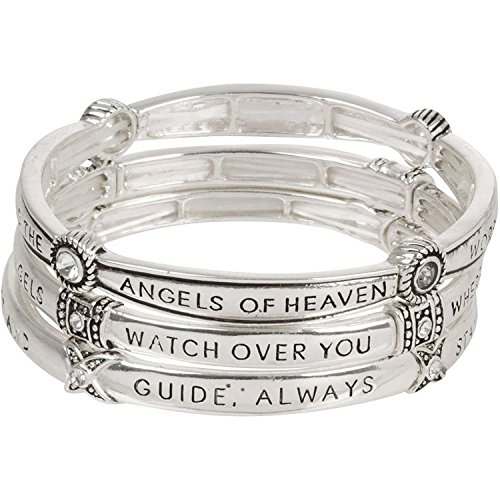 Guardian Angel Prayer Triple Stack Multi Layering Stretch Bangle Bracelets with Crystals (Guardian Angels Bracelet)