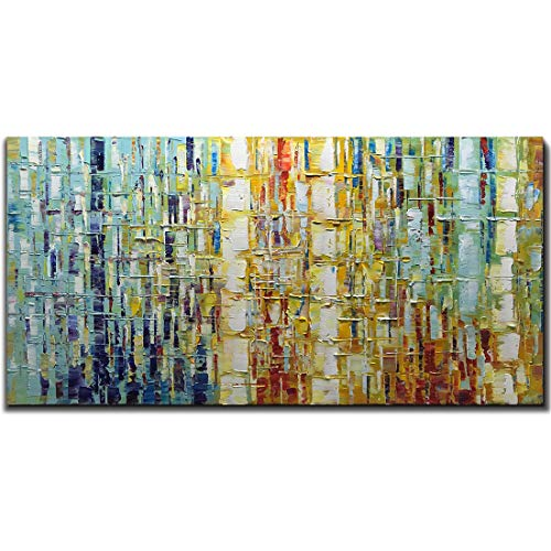 Tiancheng Art 24 x 48 Inch Abstract Art Painting 3D Oil Hand Painted on Canvas Wall Art Prints Framed Palette Knife Oil Canva Painting Acrylic Ready to -