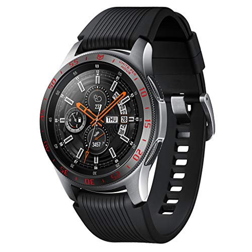LUXISDE Watch WomenFor Samsung Galaxy Watch 42mm Bezel Ring Adhesive Cover Anti Scratch Metal Red ()