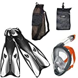 Ocean Reef ARIA Snorkeling Set With Full Face Snorkel Mask SIZE L Anti-fog - Ocean Pro Escape White Fins size M/XL - 9/11 - Mesh Bag - x - Free Shipping