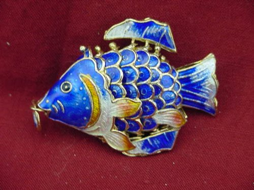 Blue Cloisonne Articulated Fish Enameled (Cloisonne Fish compare prices)