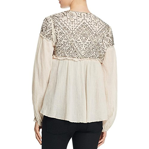 Love Sam Womens Embellished Drawstring Tie Peasant Top Ivory S by Love Sam (Image #1)
