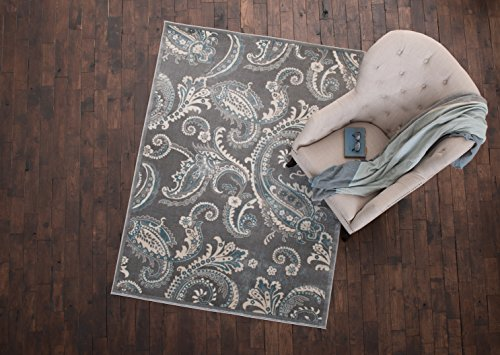 Gray Paisley (Mayberry Rugs INT7416 Paisley Gray Transitional Area Rug, 7'10