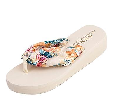 Women Bohemian Satin Flip Flops Summer Beach Wedges Slippers 9Ohd9gZ