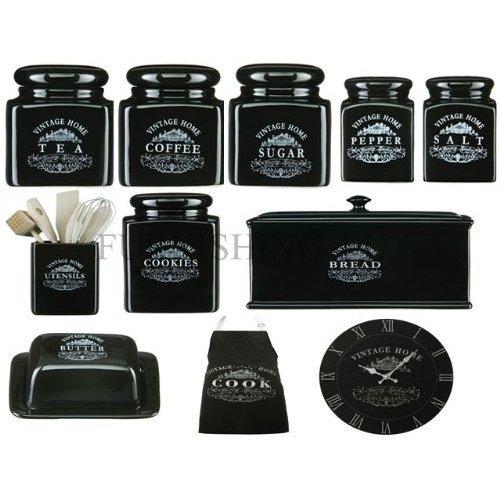 Elegant 11 PIECE VINTAGE BLACK KITCHEN BREAKFAST STORAGE CANISTER JAR SET  TEA/COFFEE/SUGAR KITCHEN / APRON: Amazon.co.uk: Kitchen U0026 Home