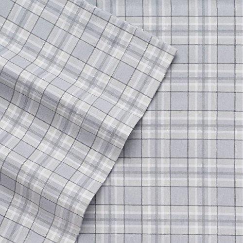 Cuddl Duds Full Size Heavyweight 4-Piece Flannel Sheet Set, Gray Plaid