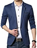 JEWOSOR Men's Slim Fit Stylish Casual One Button Flap Pockets Solid Suit...