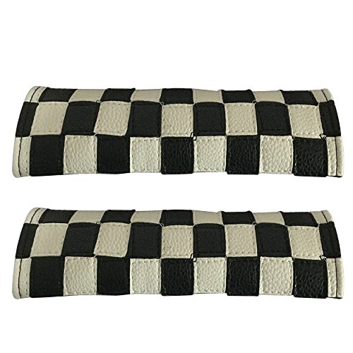 2pcs Set Chequered Flag Car Seat Safety Belt Covers Leather Shoulder Pad Accessories Fit for Hyundai Toyota Honda Subaru Ford BMW Mercedes Benz Volkswagen Infiniti Chevrolet Cadillac Nissan