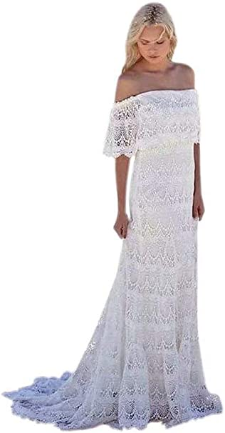 Xjly Women S Full Lace Beach Boho Wedding Dresses With Short Sleeves Country Style Bridal Gowns