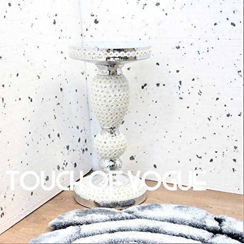 TOV/® Vassoio da cucina con rifilature di cristallo lungo l/'orlo colore argento