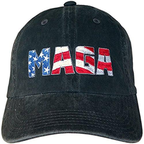 Treefrogg Apparel MAGA Hat - Distressed Black Trump Cap - American Flag  Logo (Distressed Black 2f50cc329147
