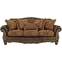 Fresco Collection 6310038 92 Sofa with DuraBlend Upholstery Carved Detailing Rolled Arms and Traditional Style in Antique