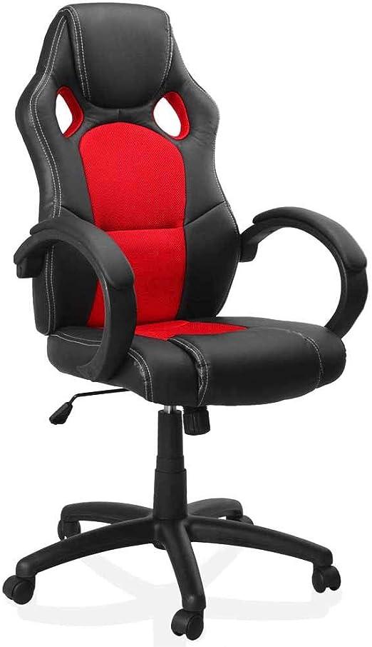 Bakaji sedia sportiva poltrona direzionale da ufficio 4 ruote girevole 360° modello racer gaming design extra 8033162611182
