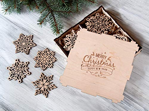 wooden snowflake ornaments 24 pcs wood christmas decoration christmas tree decorations christmas gift christmas ornament set holiday decor christmas home - Amazon Christmas Home Decor