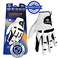 New Improved 2018 2X Long Lasting Bionic StableGrip Golf Glove - Patented Stable Grip Genuine Cabretta Leather, Designed by Orthopedic Surgeon!
