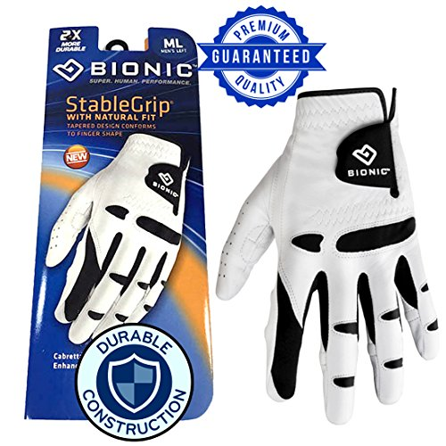 New Improved 2018 Long Lasting Bionic StableGrip Golf Glove - Patented Stable Grip Genuine Cabretta Leather, Designed by Orthopedic Surgeon! (Men's Large, Worn on Left Hand)
