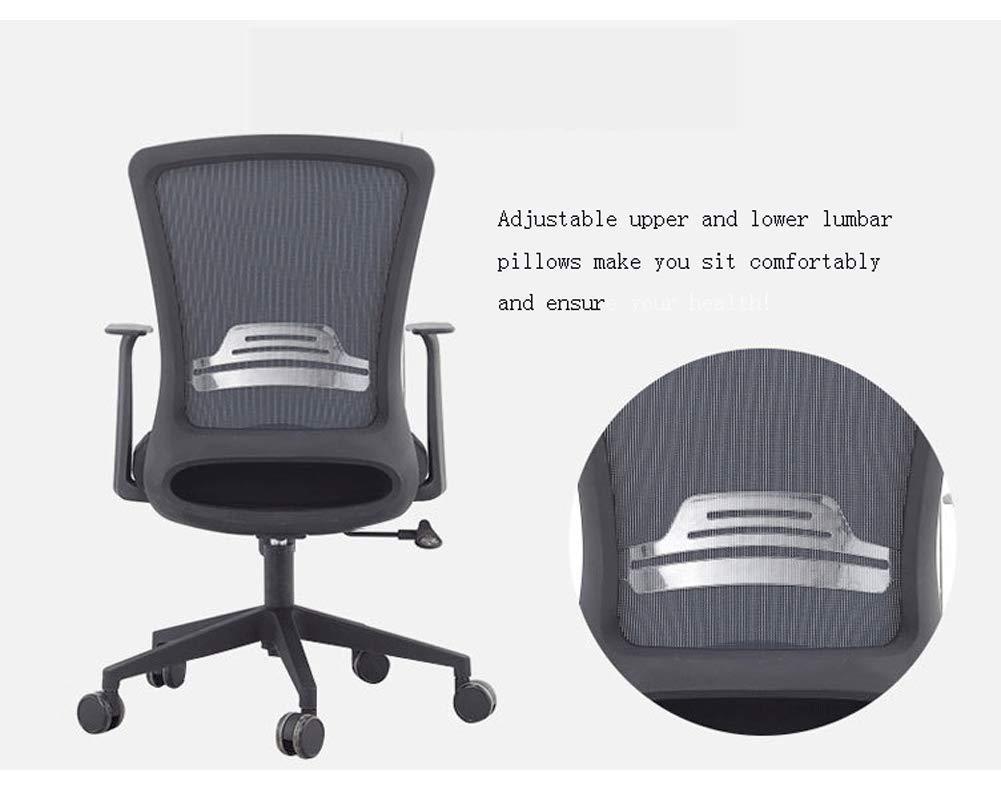 Kontorsstol verkställande dator kontorsstol, ergonomisk justerbar och roterande nätstol svart grå Grå