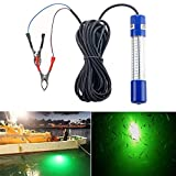 Underwater Night Fishing Light Green Submersible LED Lamp Bait Squid Fish Attracting Snook Light Dock Boat Light 12-24V 8W 20ft Cord