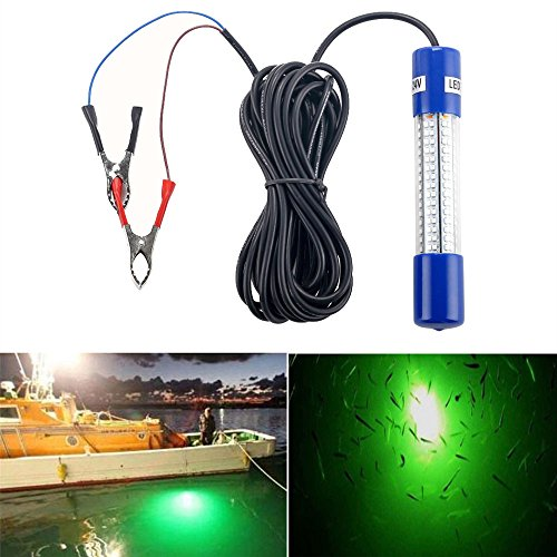 Underwater Night Fishing Light Green Submersible LED Lamp Bait Squid Fish Attracting Snook Light Dock Boat Light 12-24V 8W 20ft Cord (8x10' Bass)