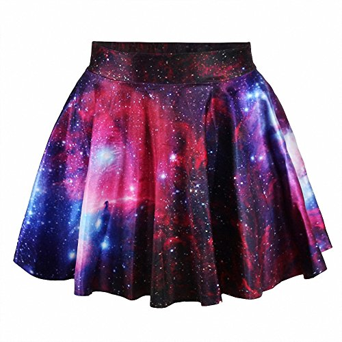 Stretch Waist Skirt - Afibi Girls Casual Mini Stretch Waist Flared Plain Pleated Skater Skirt (One Size, Pattern 6)