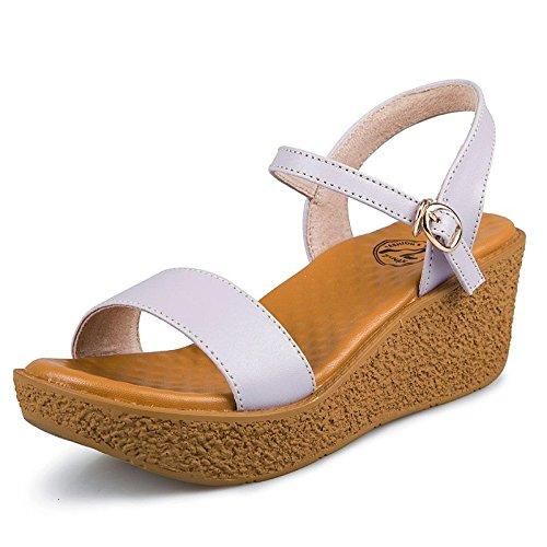 Xing sandalias Casual púrpura zapatos cuña de Señoras y mediana de edad Casual Lin Con Sandalias Nueva Cuero Verano 77Tr1vqxw