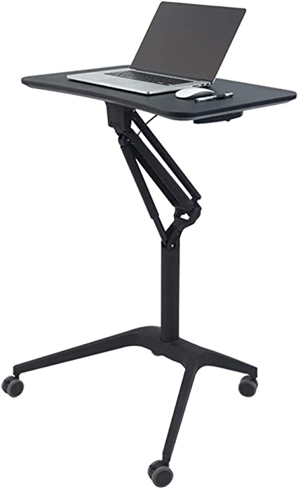 Podium Conference Pneumatic Adjustable Height Laptop Desk Cart Multifunctional Mobile Stand Up Desk Store Mobile Lectern Portable Workstation Table Amazon Co Uk Kitchen Home