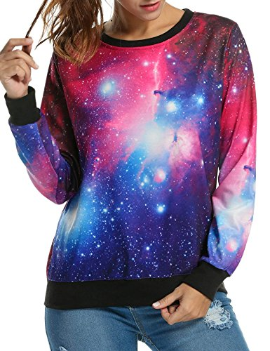 jingjing1 Galaxy Sweatshirt Women 3D Digital Printing Roll Neck Pullover Cosmic Tops Sweaters