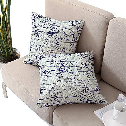 Airplane Decor Square slip pillowcase ,Digital Old Airplane Drawings Classic Aged Dated Flights Vintage Style Nostalgic Jets Royal Blue and Seafoam Cushion Cases Pillowcases for Sofa Bedroom Car (Jet Bow Compass Set)