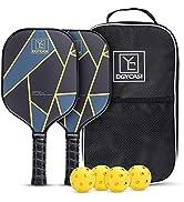 YC DGYCASI Pickleball Paddles Set of 2, 2 Premium Lightweight Honeycomb Composite Core Paddles Lo...