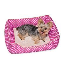 """Stinky G Pink Polka Dog Bed Small 19"""" L x 16"""" W x 6"""" H"""