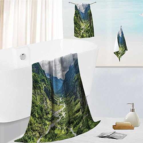 Landscape Panorama (Leighhome Family Big Bath Towel set green river valley canyon wide summer panorama alpine mountain landscape Printing Print Bath Towel Super Absorbent Body Wrap Pool Towel)