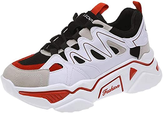 SHOES-HY Zapatos Casuales para Mujer Zapatillas de Tenis para Caminar sin Cordones Gimnasio Ligero Jogging Sports Athletic Running Sneakers,Rojo,39: Amazon.es: Jardín