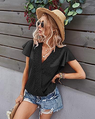XCHQRTI Chiffon Shirt for Women Deep V Neck Short Sleeve Pom Pom Top Loose Blouse Black L