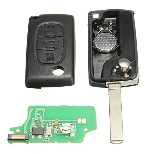 KaTur 433MHz 3 Buttons Auto Car Remote Key Shell Case Cover Replacement with Battery ID46 Chip for Peugeot Citroen Berlingo ()