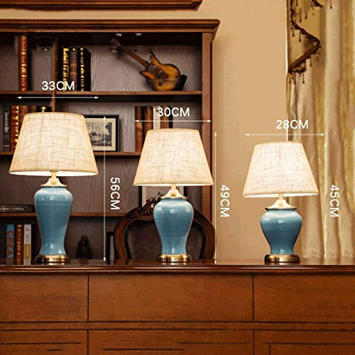 (AOLI Table Lamp American Ceramic Retro Desk Lamp, Modern Simple Button Switch Blue Table Lamp, Stylish and Warm Living Room Hotel Study Bedroom Bedside Table Lamp E271,S)