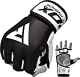 RDX MMA Gloves Sparring Martial Arts Grappling Cowhide Leather Training UFC Cage Fighting Combat Gel Mitts Punching Bag Gel Mitts