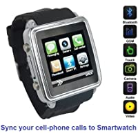 SmartWatch (Classic Case & Black Strap) : Smartwatch (Sync calls to iPhones,Android Phones,Bluetooth Phones).Quad-Band GSM Bluetooth Cell Phone,Music&Video Multimedia Player,FM radio,Camera.