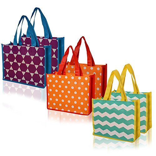 Reusable Grocery Tote Bag Medium Vogue 6 pack - 3 designs